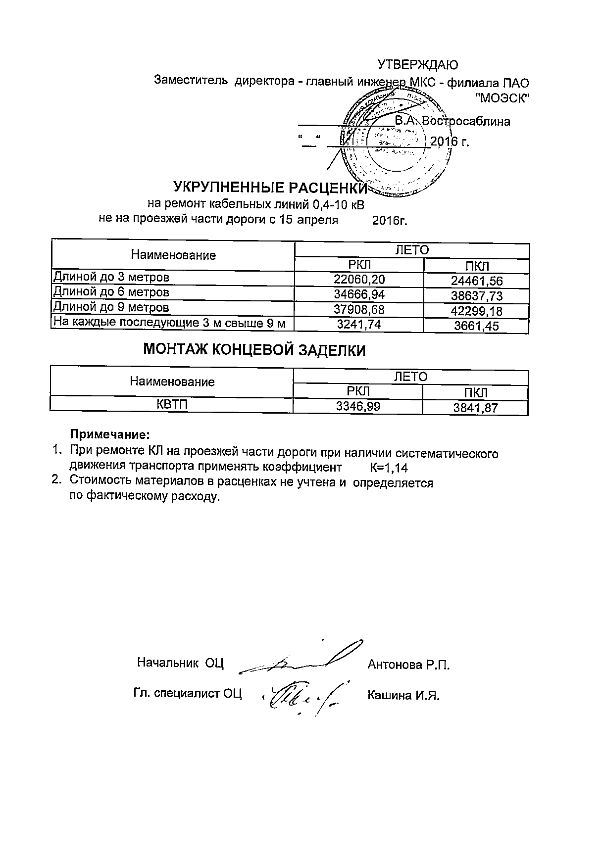 Укрупненные расценки на ремонт КЛ-0,4-10кВ