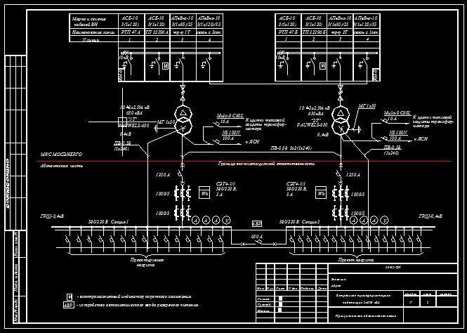 Принципиальная схема ТП 2х630 кВА