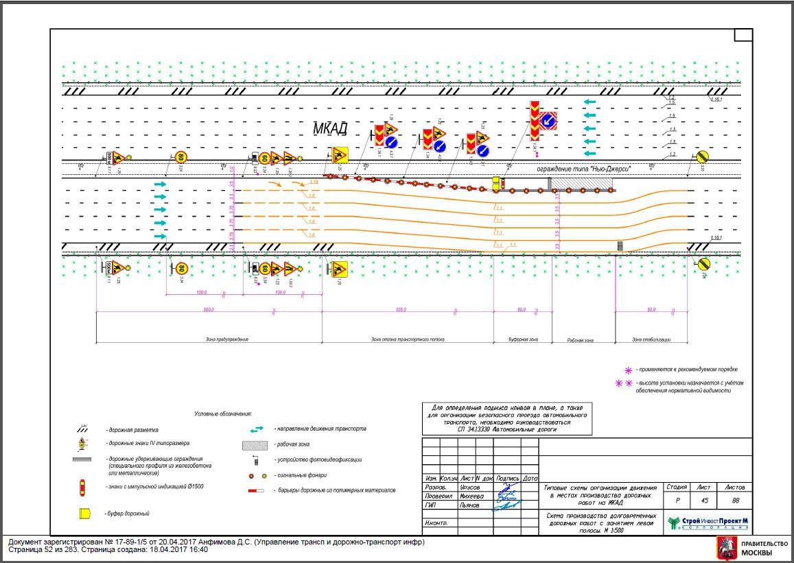 Схема долговременных дорожных работ с занятием левой полосы