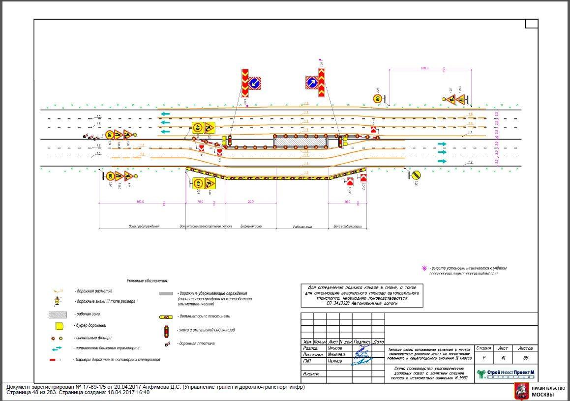 Схема долговременных дорожных работ с занятием средней полосы