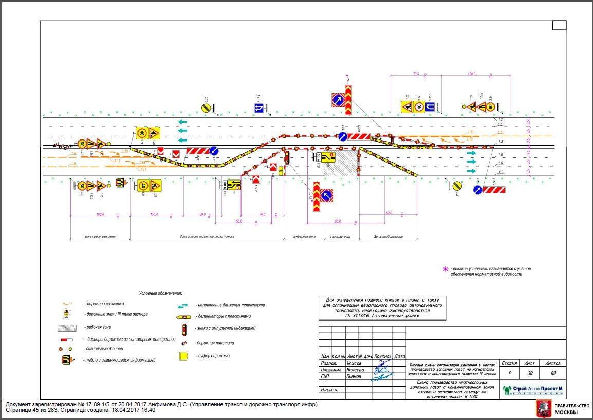 Схема краткосрочных дорожных работ с комбинированной зоной отгона