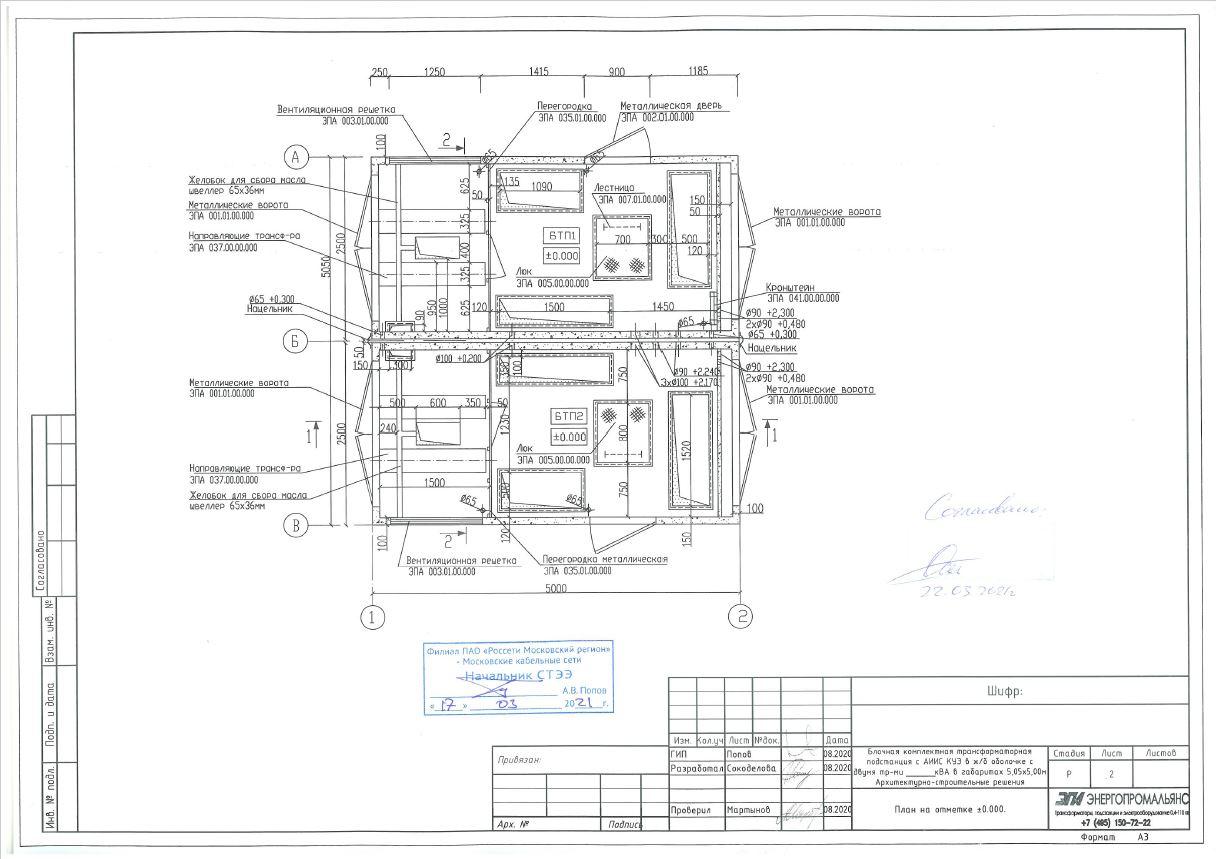 План на отм. 0.000 АСЧ 5х5 ЭПА