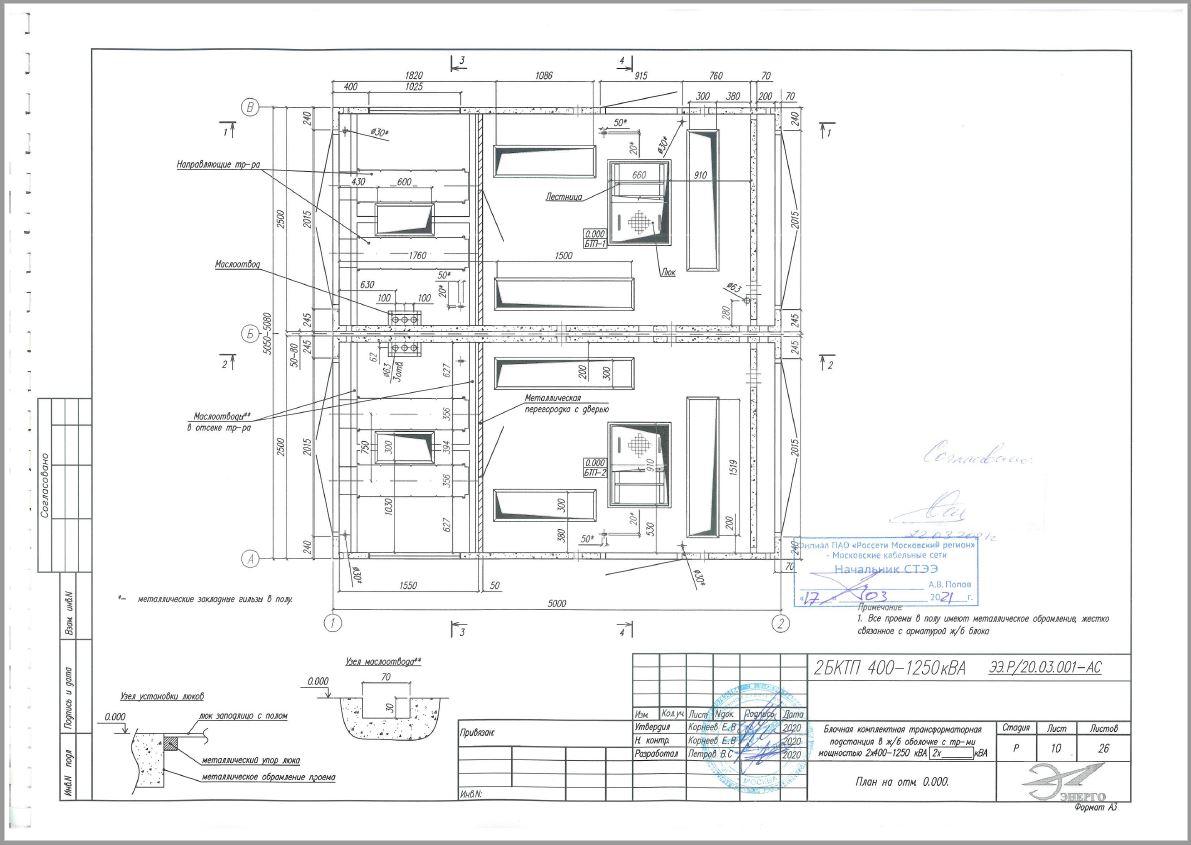 План на отм. 0.000 АСЧ 5х5м ЭлЭнерго